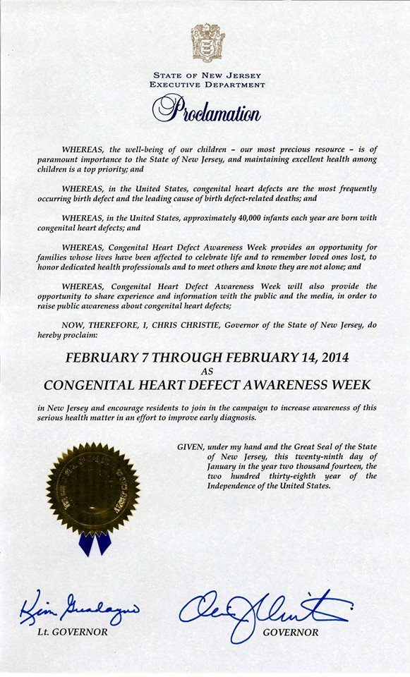 NJ CHD Week Proclamation 2014